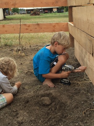 Grandkids helping build the small barn