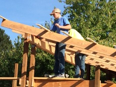 Teenagers helping build the small barn