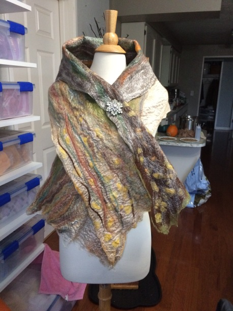 The other side of the birch tree scarf