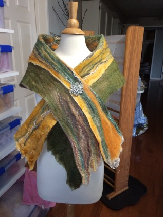 One side of the birch tree inspired scarf