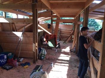 Inside of small barn