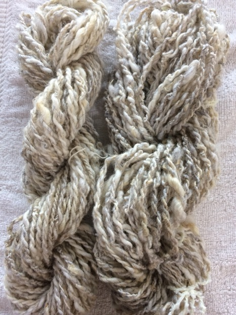 Yarn I spun from Lincoln Longwool