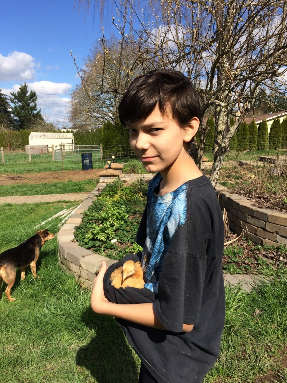 Ryan with young chicken named Peggy