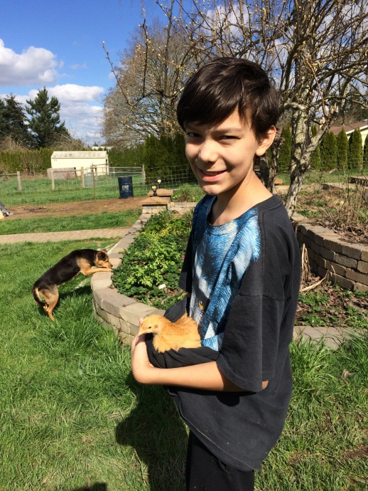 Ryan with a young chicken. Bear (the dog) in the background