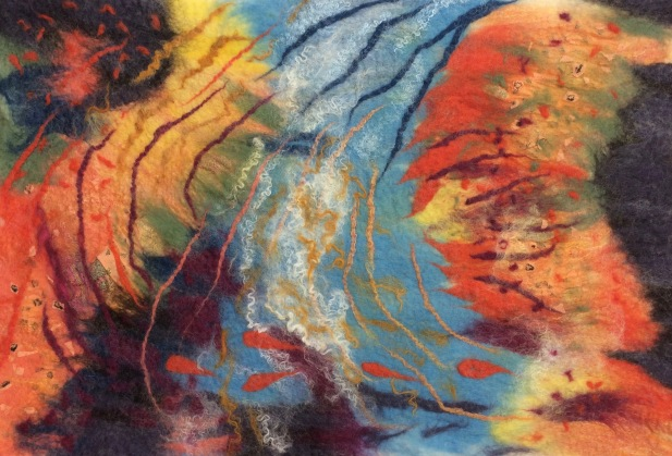 """Felted wall hanging """"Among the Coral"""""""