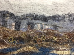 "Closeup of felted wall hanging ""Underground Workings"""