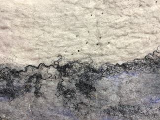 "Close up of felted wall hanging ""Underground Workings"""
