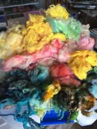 More wool dyed with food coloring