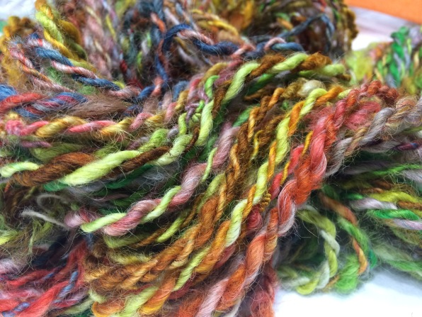 Colorful yarn I spun from wool I dyed with food coloring