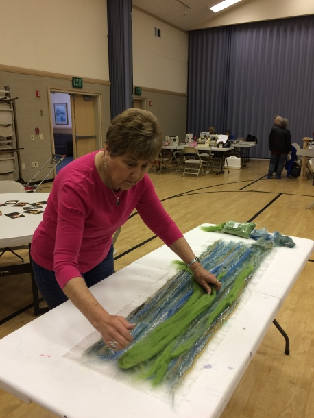 Nancy at felting workshop