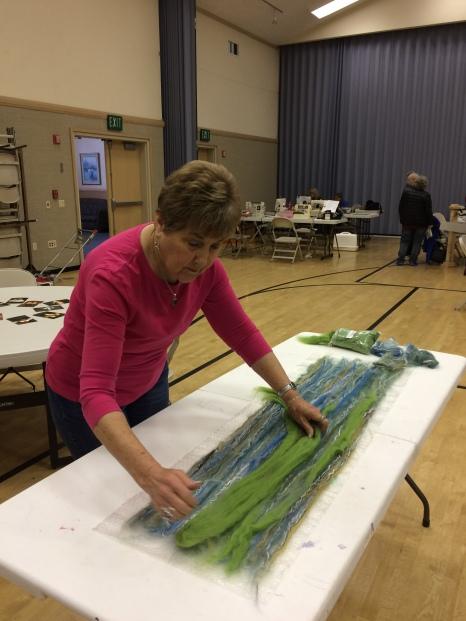 Nancy at felting workshop