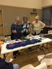 Women at my felting workshop at the church