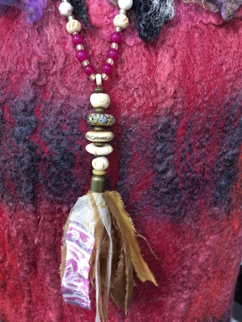 Necklace with lamp work beads and silk sari ribbon
