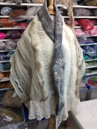 Shawl I felted with wool, fabric, and lace